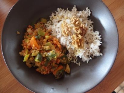 Lentilles corails aux épices et son riz