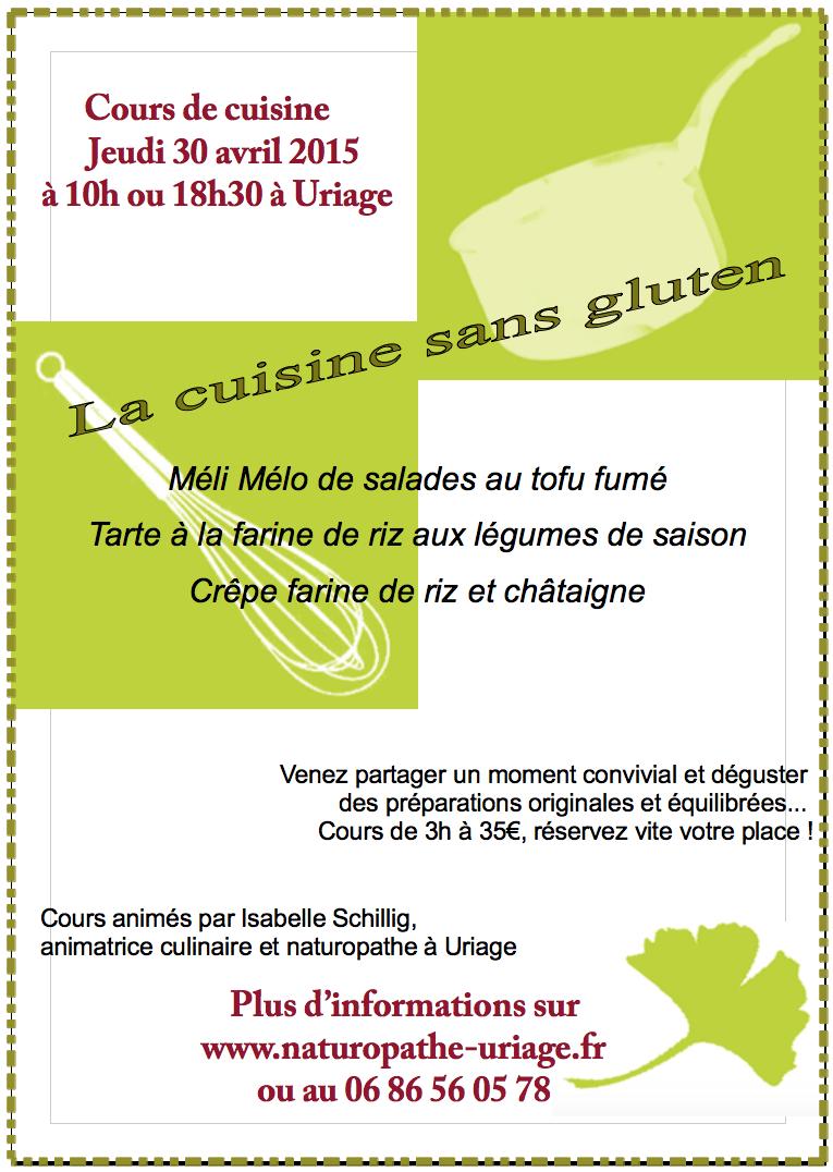 Cours de cuisine sans gluten jeudi 30 04 2015 - Cours de cuisine sans gluten ...