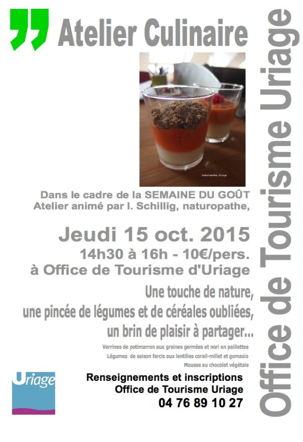 Atelier culinaire Uriage semaine gout