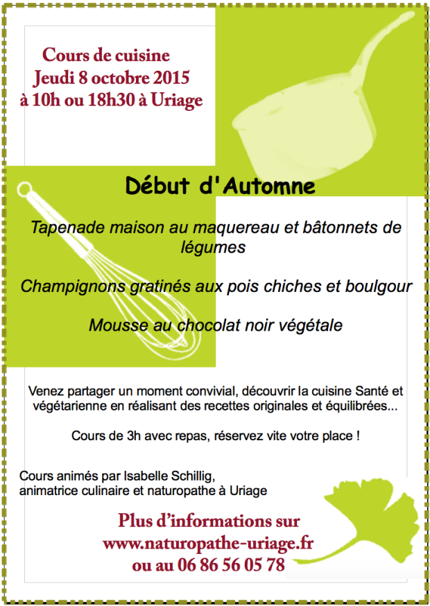 Cours cuisine Uriage-Grenoble 08:10:2015