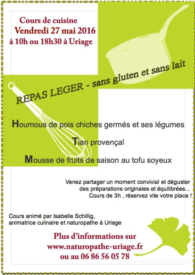 Cours de cuisine Uriage Grenoble mai