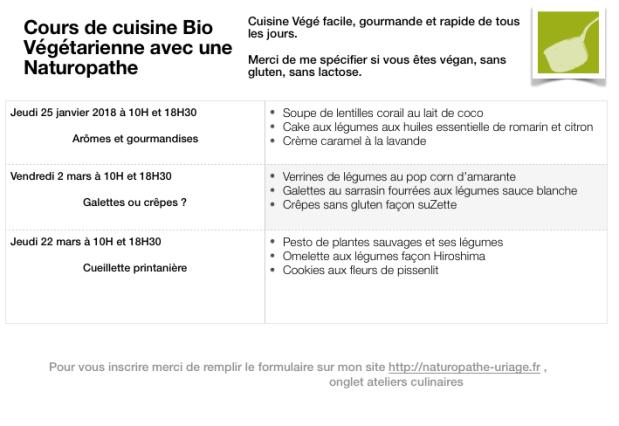 Cours de cuisine Bio Végé ISabelle Schillig 2018