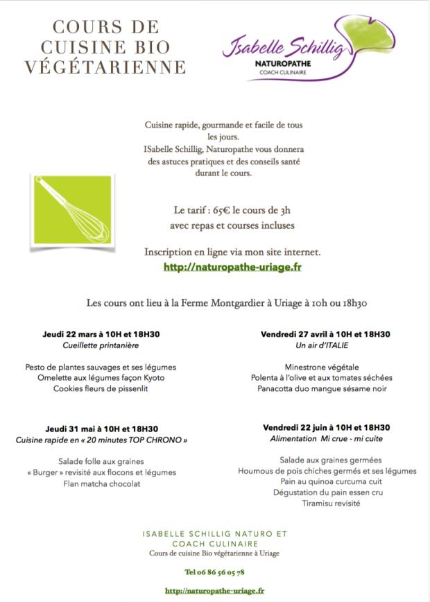 Cours cuisine Bio Végé Grenoble Uriage