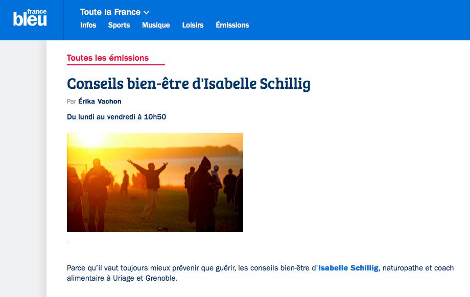 Isabelle Schillig sur France Bleu isere conseils bien être